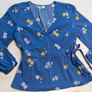 Blue Yellow Floral Peplum Wrap Shirt Long Sleeve